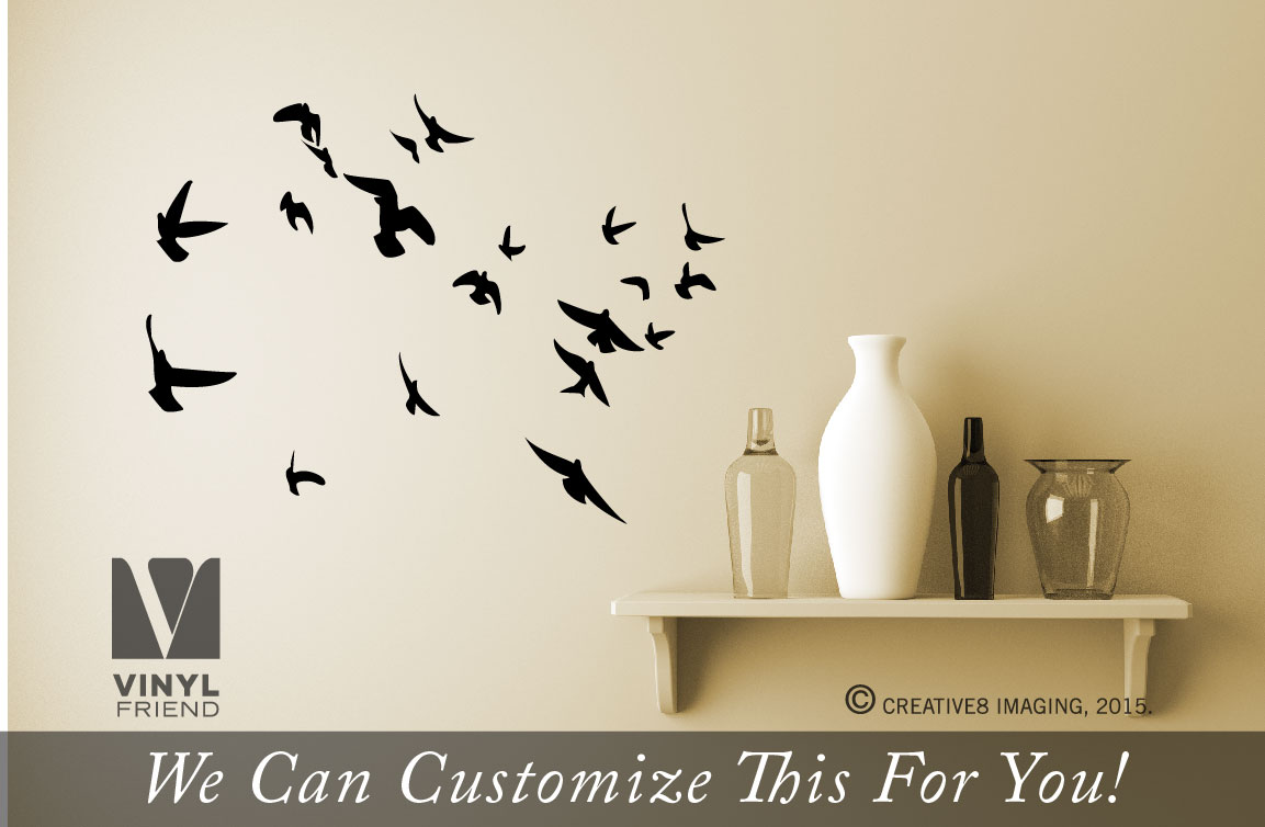 flock of flying birds set of 20 wall vinyl decal sticker silhouettes