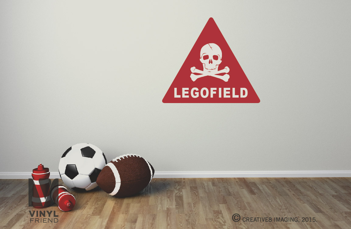 Vinyl for brick wall - Legofield Danger Sign With Skull And Bones Brick Wall Decal Vinyl Graphic Printed 2321