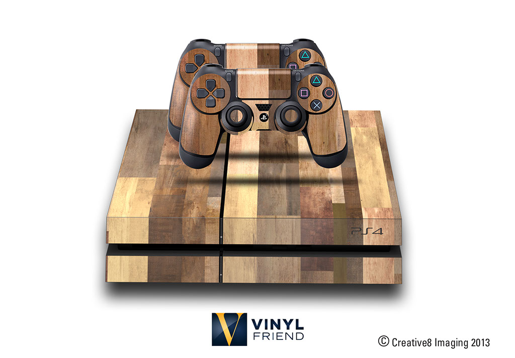 e skins play station 4 ps4 gaming console skin wood plank pattern