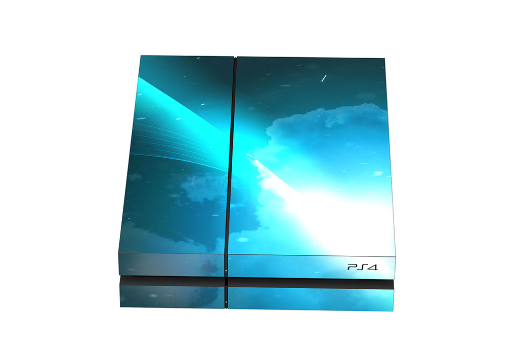 e skins play station 4 ps4 gaming console skin light streak 2 blue sky decals. Black Bedroom Furniture Sets. Home Design Ideas