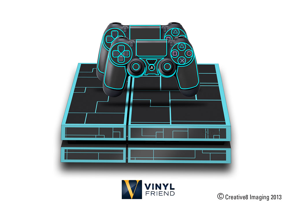 e skins play station 4 ps4 gaming console skin sci fi lines tron