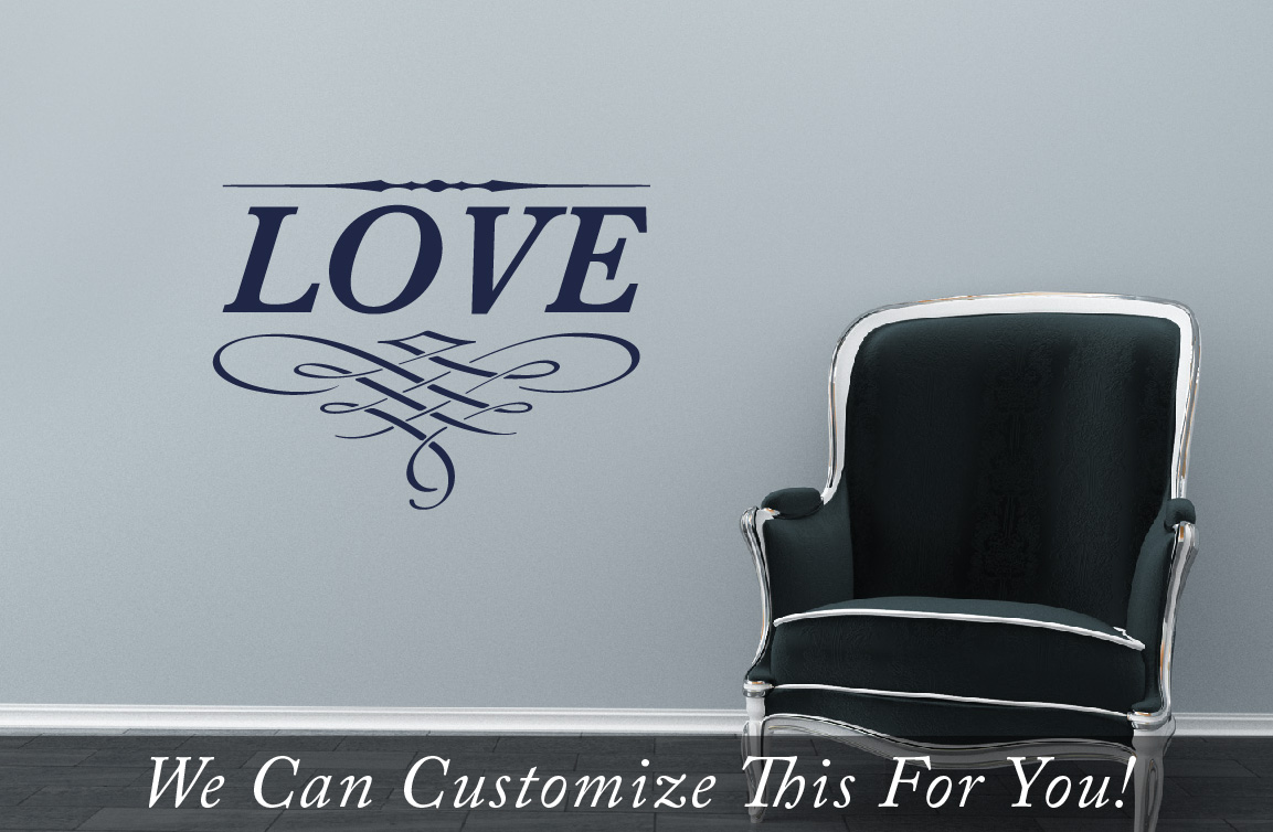 Love Word A Wall Decor Vinyl Lettering With Swirls And