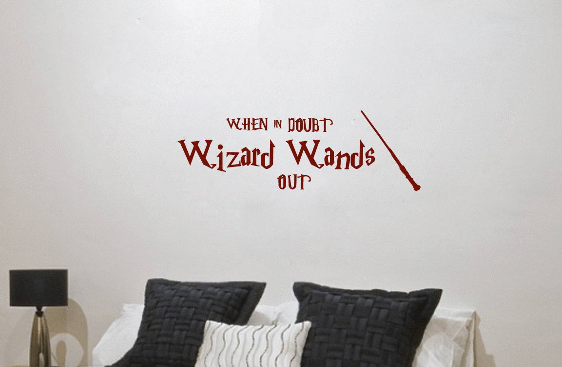 Wall Decor Sticker Harry Potter When In Doubt Wizard Wands Out Wall Decor Vinyl