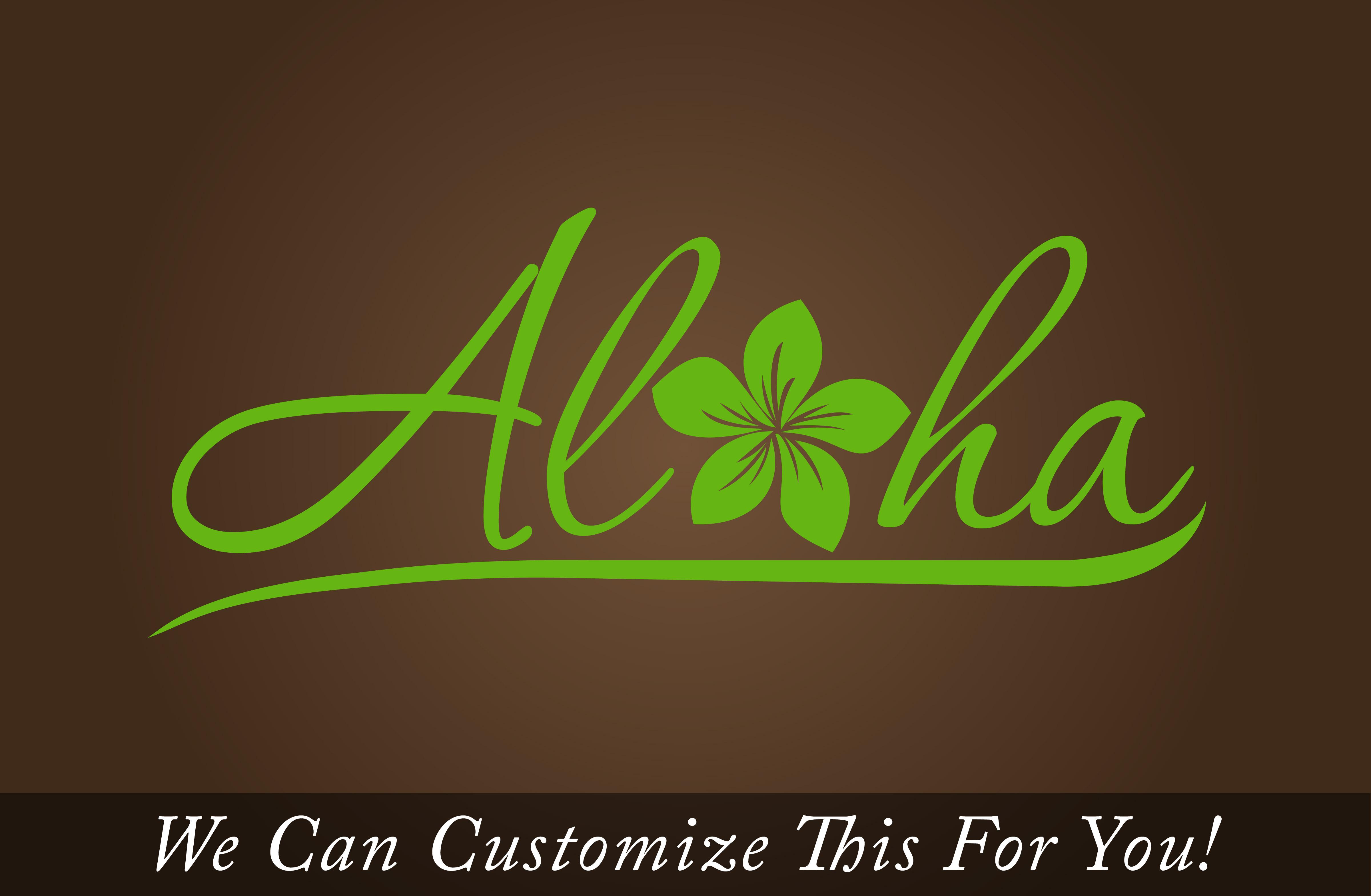 Aloha plumeria Hawaii door decor wall vinyl lettering decal with tropic  flower monogram medium 2070
