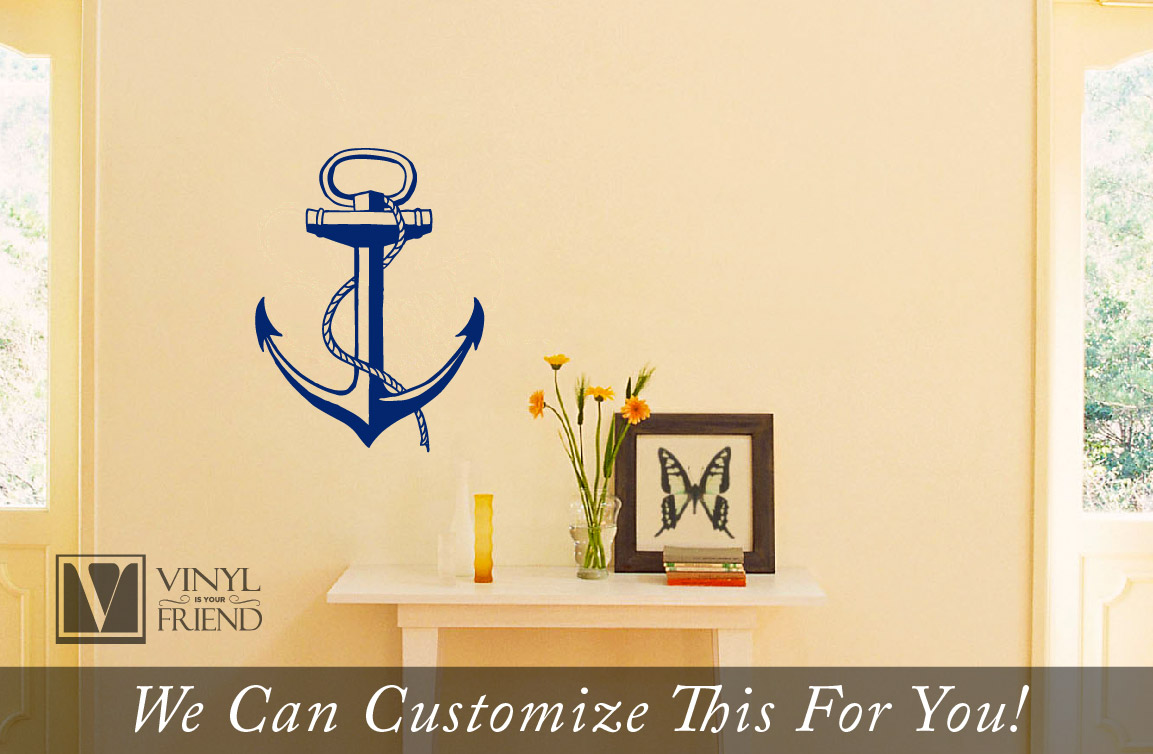 Boat Anchor nautical vinyl wall decor art for a Sea man navy ship or ...