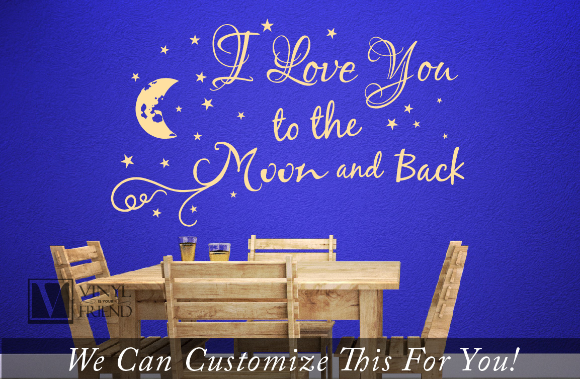 i love you to the moon and back quote a wall decor vinyl lettering decal words with moon and. Black Bedroom Furniture Sets. Home Design Ideas