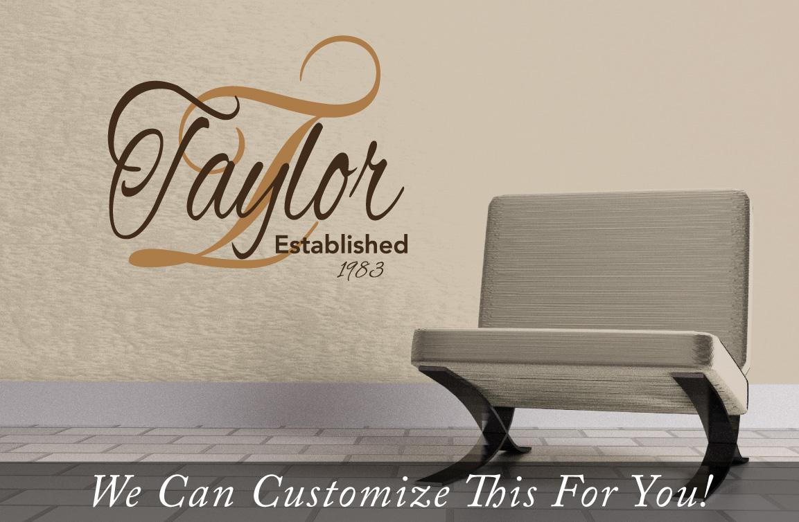 Taylor Established In Year Custom Family Logo Name In Cursive A - Custom vinyl wall decals logo