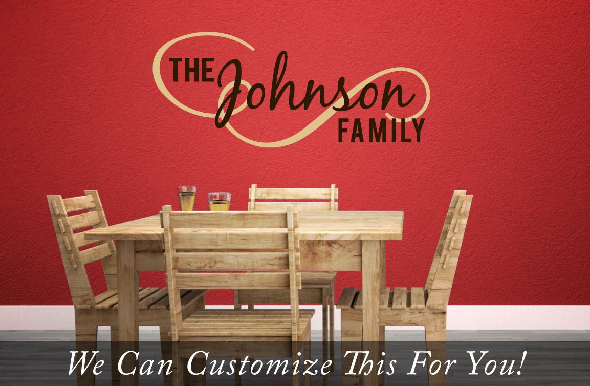 Custom Family Name The Johnson Family Flourish Wall Decor Vinyl - Custom wall vinyl lettering