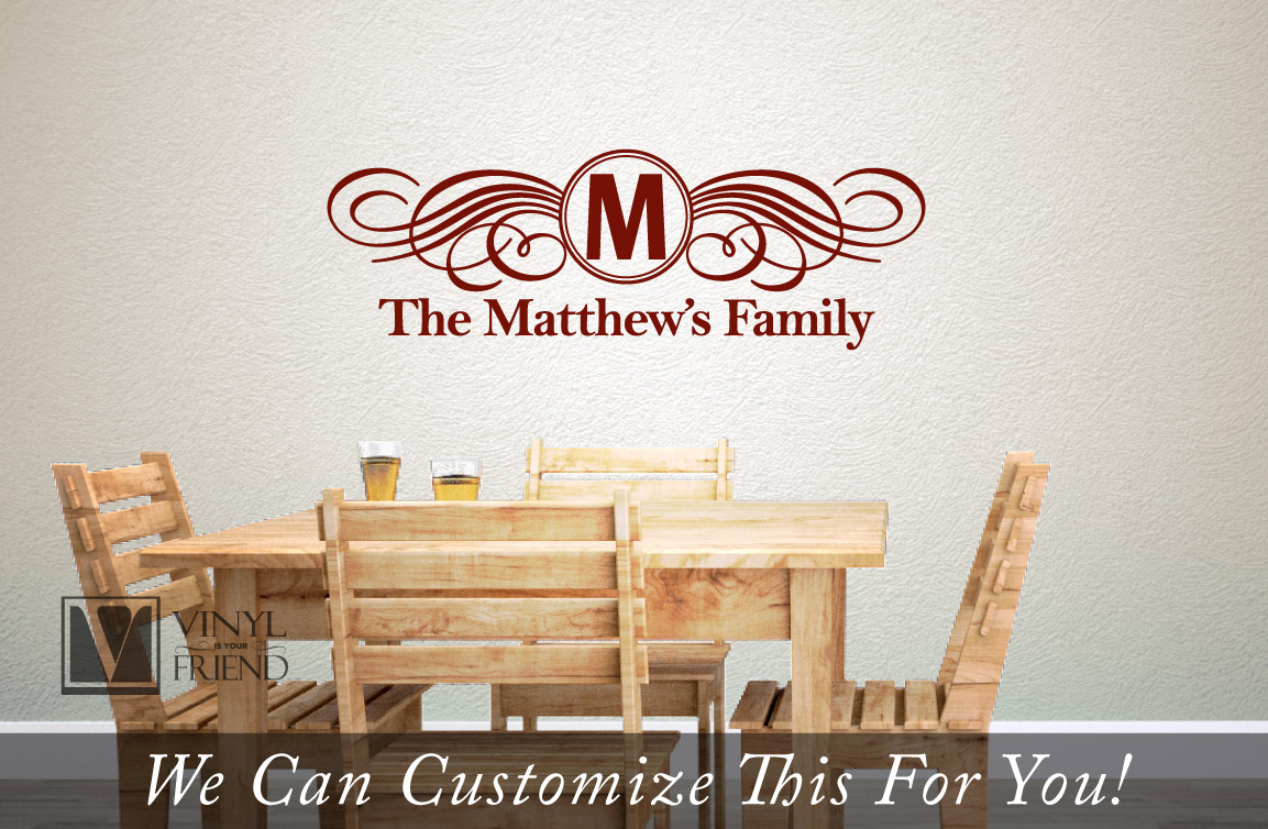 Custom Family Name Monogram Fancy Flourishes Personalize With Your - Custom vinyl signs for walls