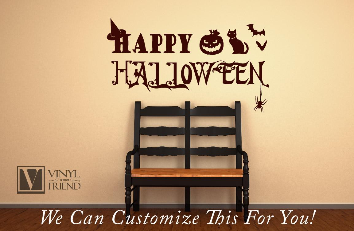 Happy Halloween with bats pumpkin cat spider and witches hat vinyl ...