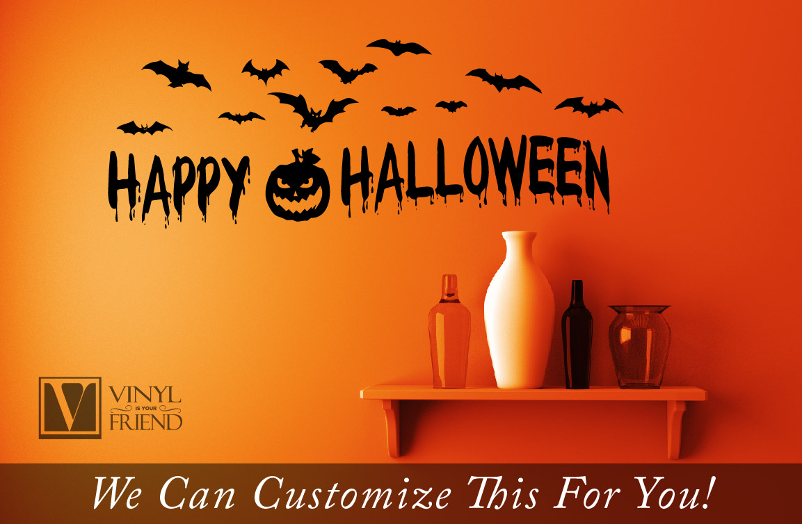 Happy Halloween With Bats And Pumpkin Vinyl Lettering Decal For Home Decor 2207