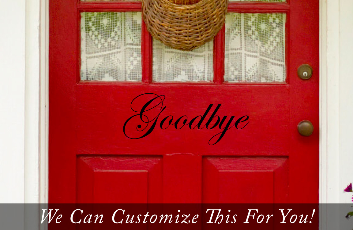 Goodbye Words Door Decor Vinyl Lettering Decal To Welcome