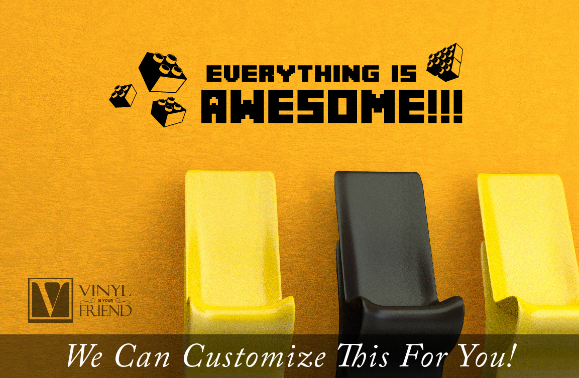 Everything is awesome wall decor vinyl lettering decal for geeks ...