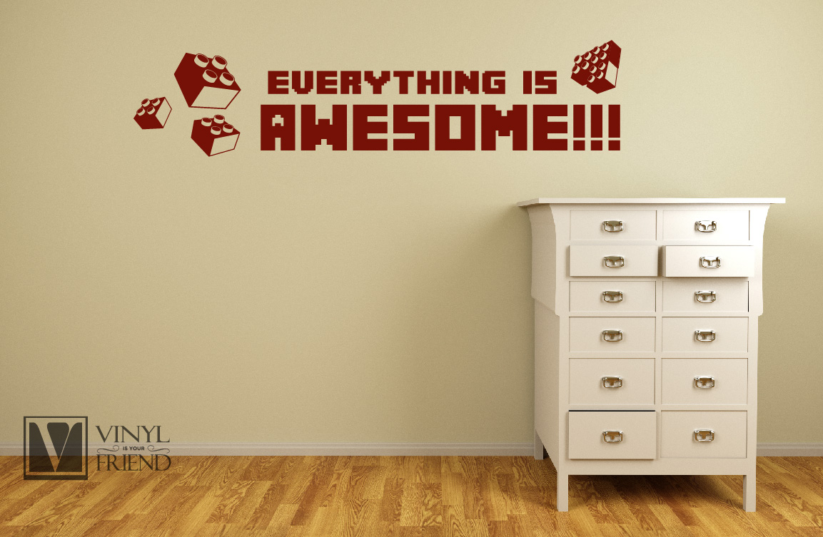 everything is awesome wall decor vinyl lettering decal for geeks nerds and kids bedroom brick builder block theme 2284