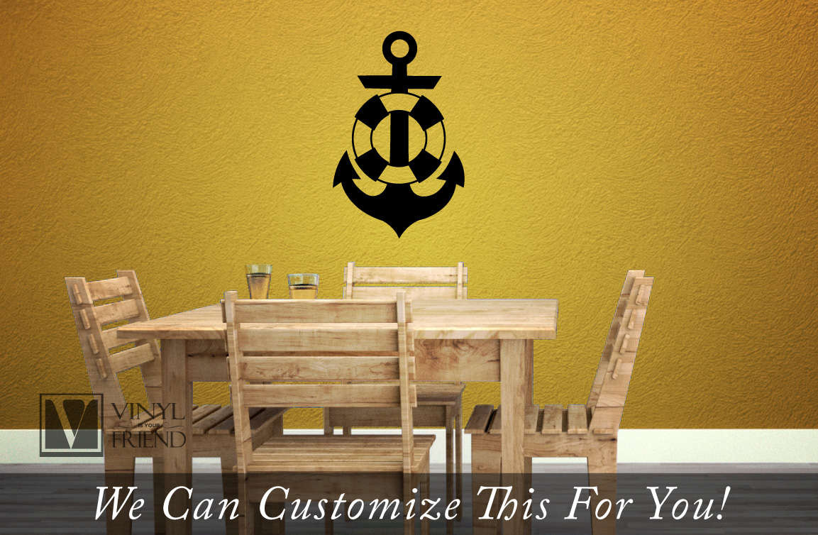 life saver preserver with ship anchor symbol nautical wall decor ...