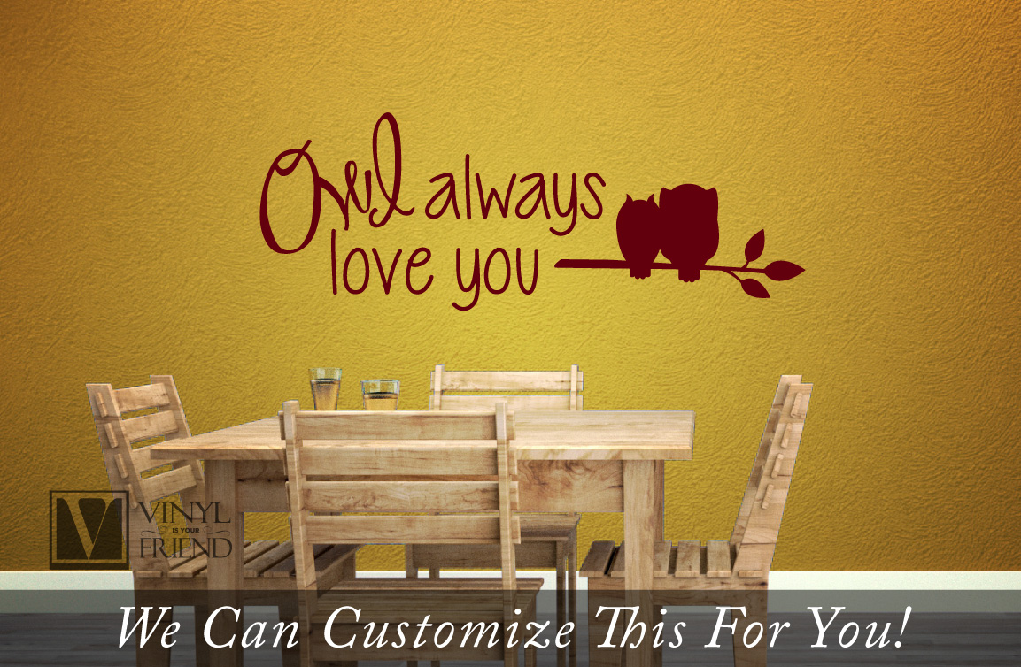 Owl always love you with owl on branch - a wall decor vinyl ...