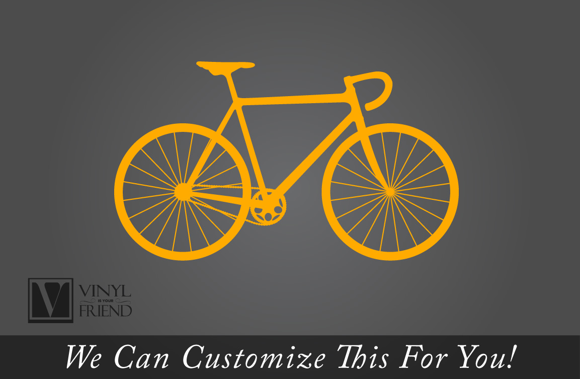 Road Race Bicycle Wall Vinyl Graphic Art A Sports Wall Decor For - Custom vinyl decals for bicycles