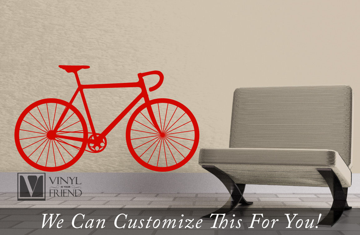 Road race bicycle wall vinyl graphic art a sports wall decor for ...