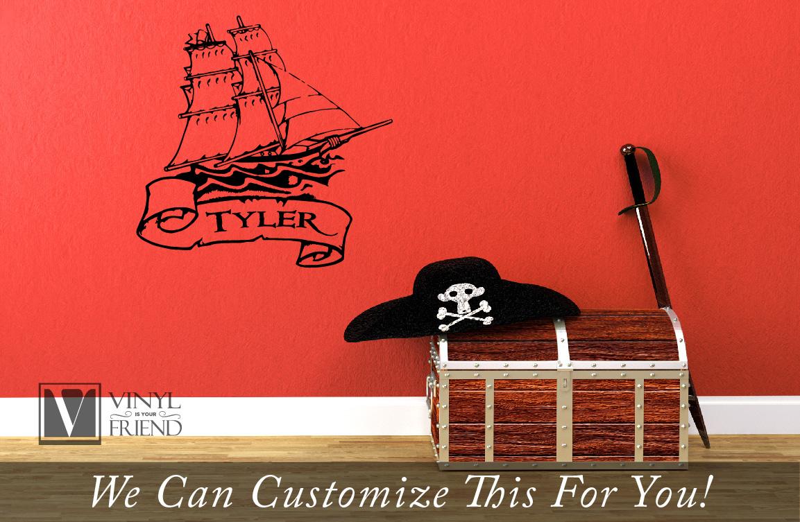 Pirate Ship And Scroll CUSTOM NAME Wall Decor Vinyl Lettering - Custom wall vinyl lettering