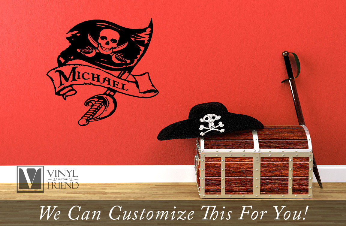 Pirate Flag Wall Decor With Sword And Scroll Custom Name A Wall