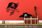 Pirate Flag Wall decor with Sword and Scroll - CUSTOM NAME - A wall decal vinyl lettering sticker graphic art 2380