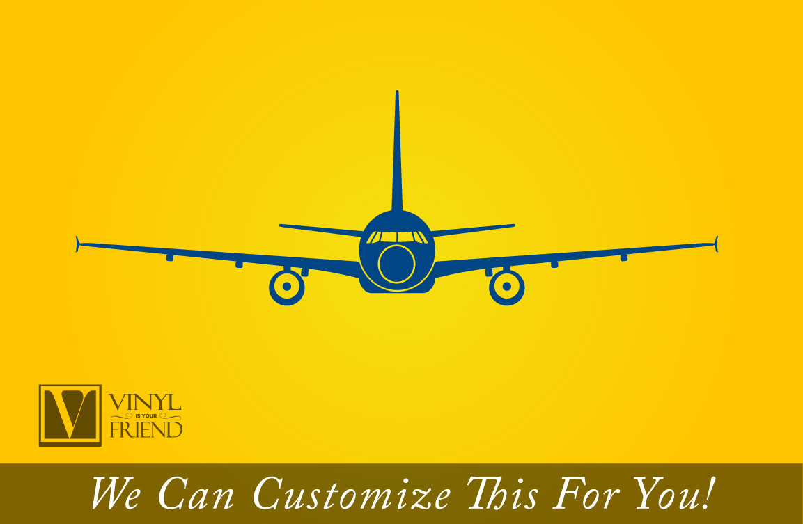 Commercial jet airplane twin engine silhouette front view - a wall ...