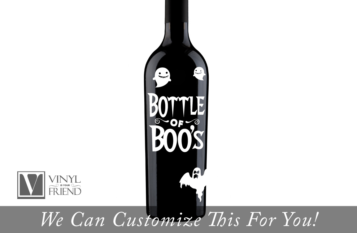 bottle of boos label halloween decor for liquor and beer glass
