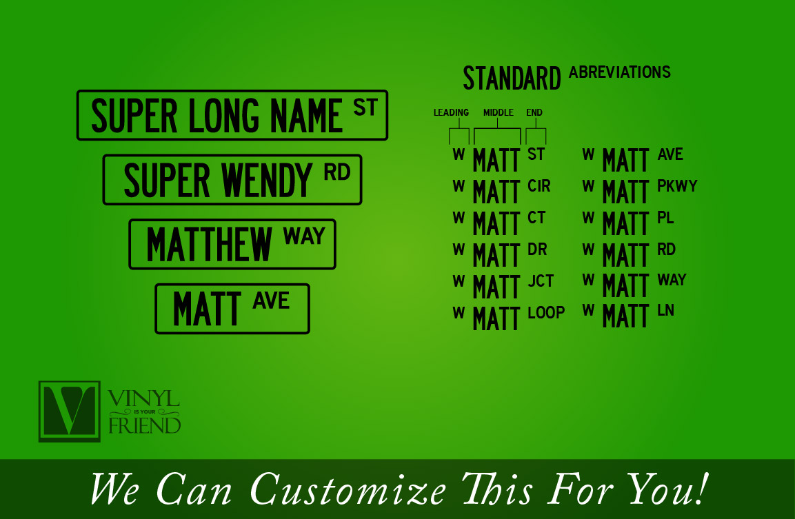 Street Sign vinyl decal wall decor custom name with border
