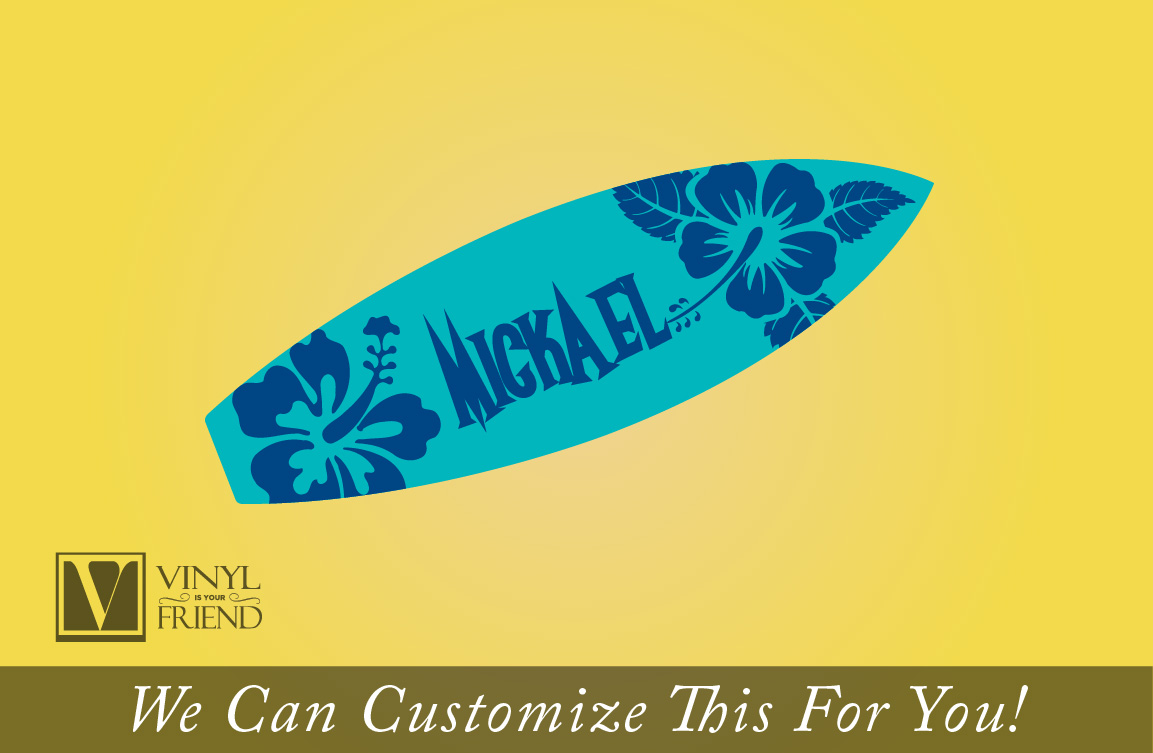 Surf board #4 custom name with hibiscus flower - wall decor vinyl ...