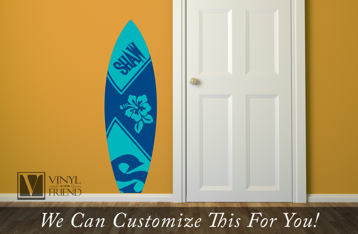 Surf board 2 custom name with hibiscus flower wall decor vinyl surf board 2 custom name with hibiscus flower wall decor vinyl decal lettering beach and nautical theme 2430 amipublicfo Image collections