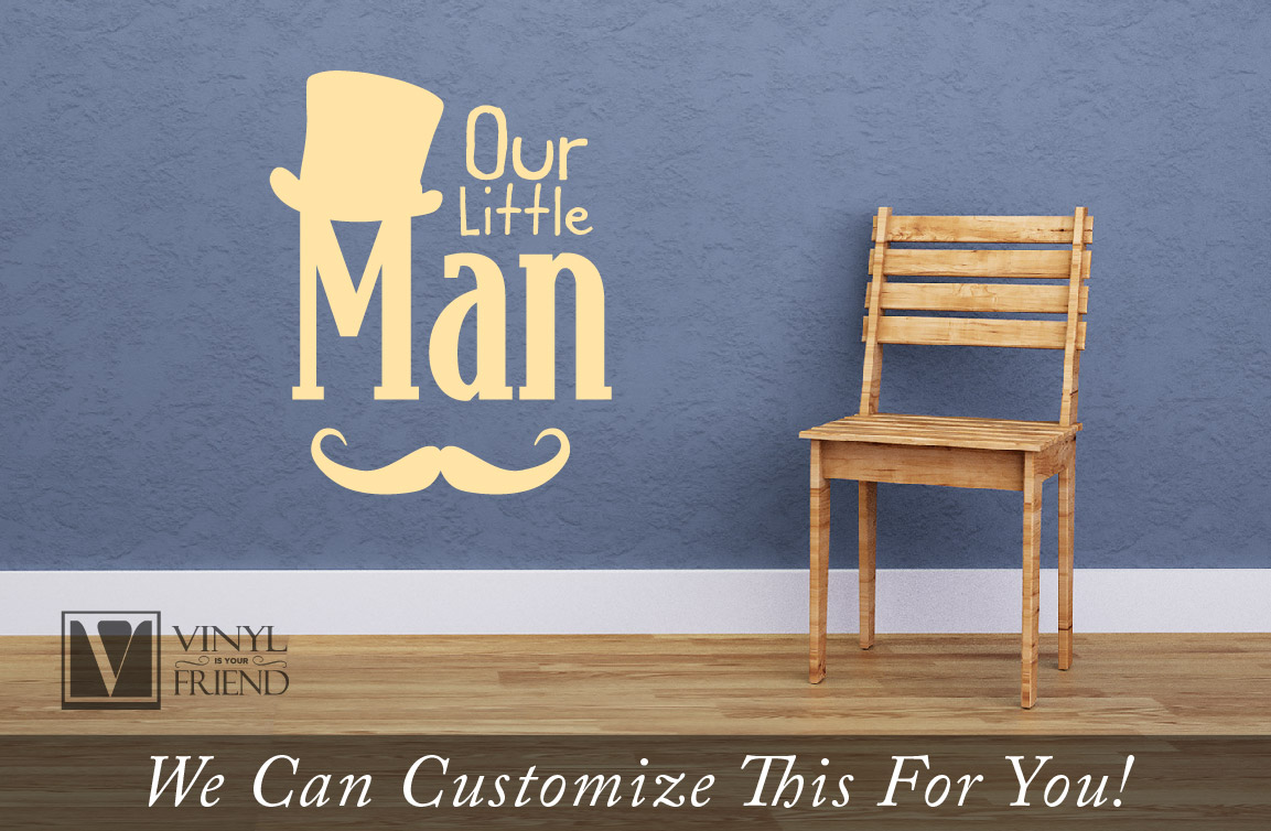 our little man wall decor decal lettering with top hat and quick view