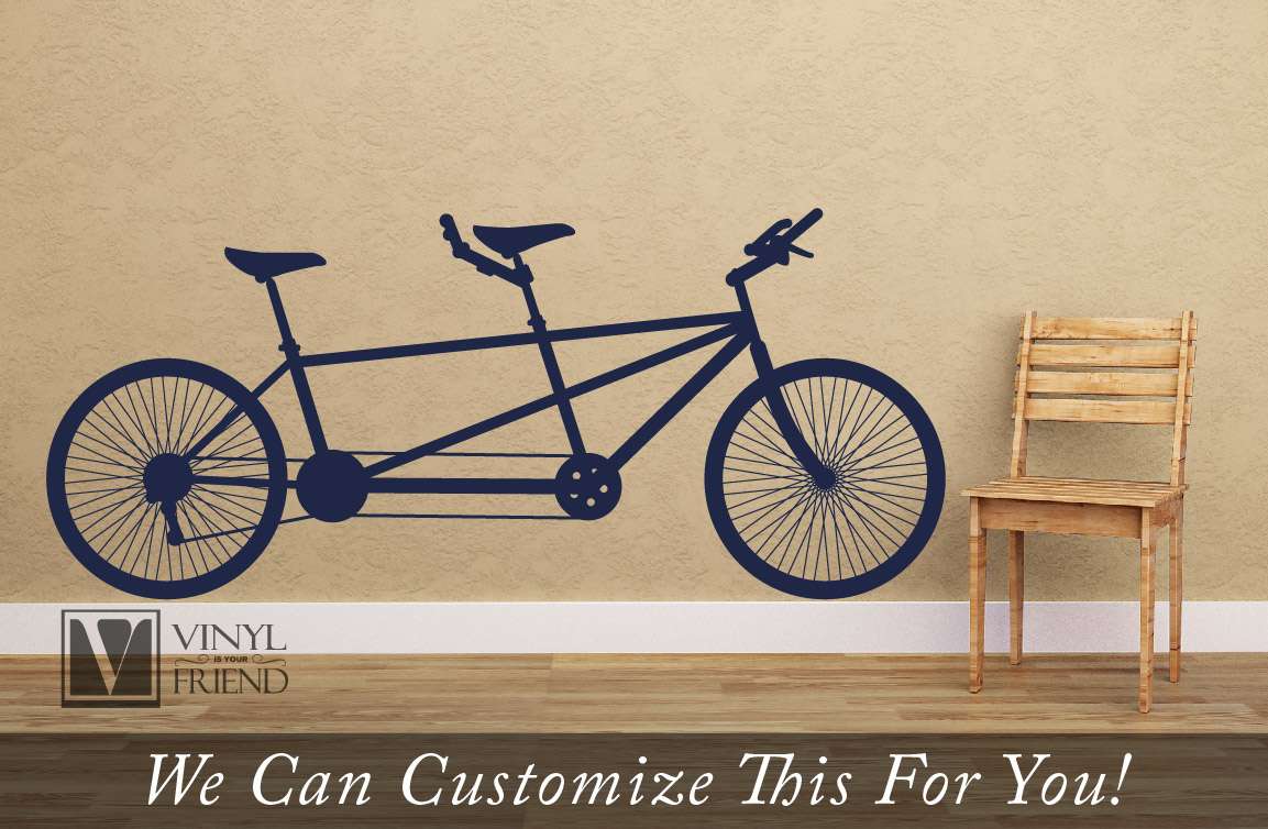 Tandem Road Bicycle Retro Vintage Wall Decor Vinyl Decal A Sports - Custom vinyl decals for bicycles