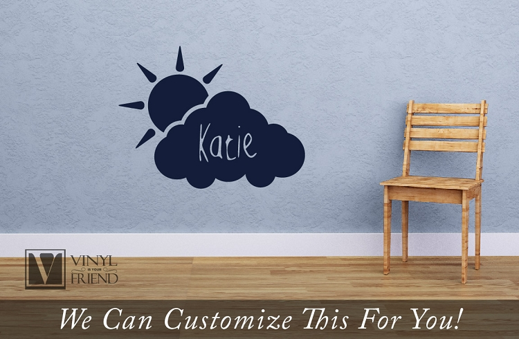 523a12bbb53e Cloud and Sun Custom name wall decor vinyl decal - personalize with ...