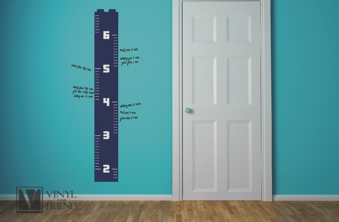growth height chart brick builder theme ruler stacked bricks wall decor vinyl decal
