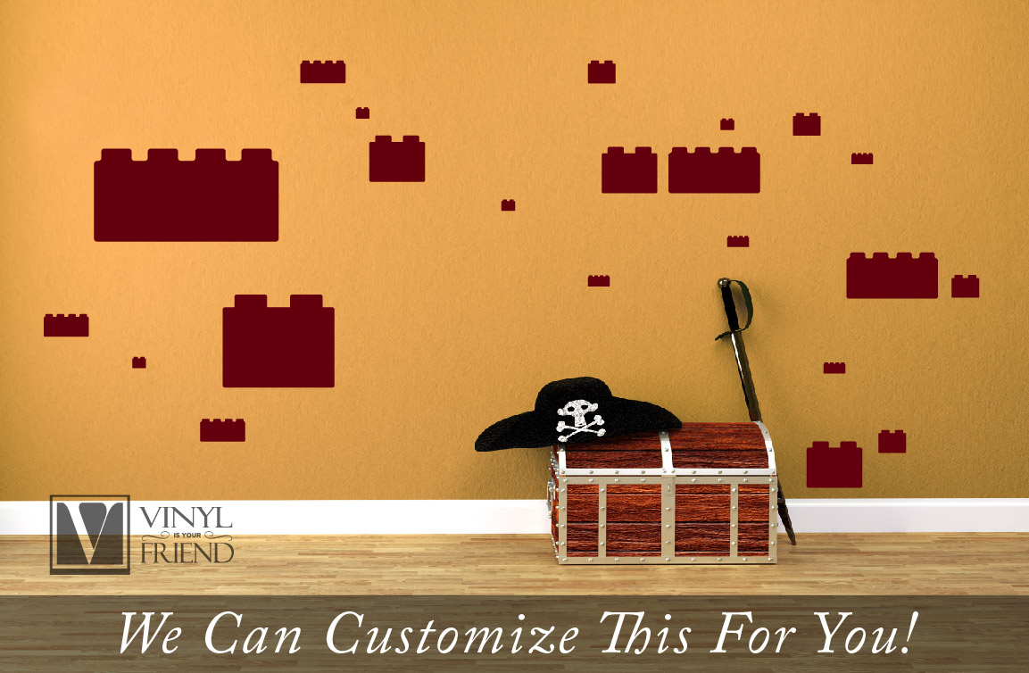 Wall Decor Sticker Brick Variety Pack For Brickbuilders Brick Themed Rooms 2x2 And