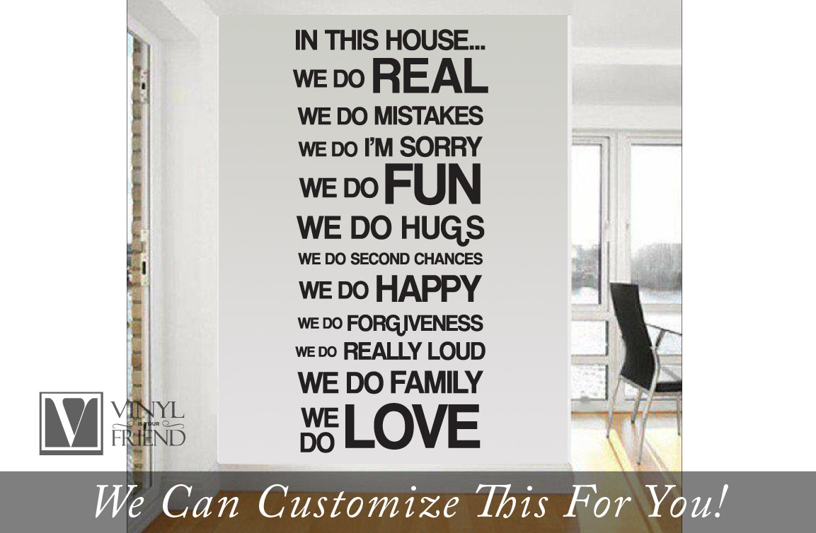 In This House We Do Real Mistakes Im Sorry Fun Home Wall Decor Vinyl Decal Large Sans Serif Font B2004