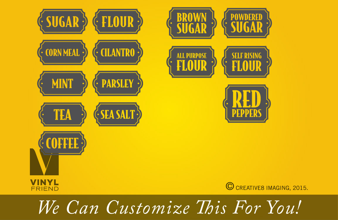 flour and sugar 1 each vinyl decal stickers for kitchen container