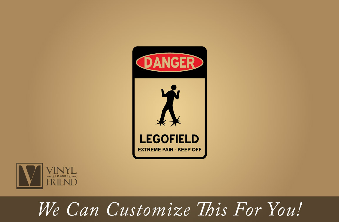 Danger Legofield - extreme pain - keep off vinyl decal road street ...