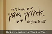 Cats leave paw prints on your heart wall vinyl lettering decal cat lover art 2002