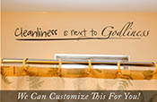 Cleanliness is next to Godliness vinyl wall lettering decal sticker cursive and handwritten large 45x6 large 2012
