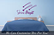 Shine Bright word with shooting Stars with tails - a wall decor vinyl lettering decal art motivation for a bedroom  2021