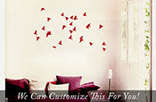 Bird Flock Flying in air and sky small set of 26 wall vinyl decal stickers silhouettes 2039