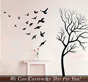 Withered Leafless Tree and branches in the fall with birds flocking in flight large wall vinyl decal set of 21 flying birds stickers 2041