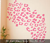 Leopard spots pattern 80 piece animal wall decal set vinyl bedroom LARGE 2064