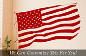United States of America US American Flag Waving in the wind wall vinyl decal art sticker patriotic medium 2066