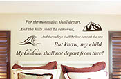 For the mountains shall depart and the hills shall be removed, my child my kindness shall not depart from thee wall vinyl letters 2068
