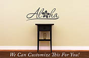 Aloha plumeria Hawaii door decor wall vinyl lettering decal with tropic flower monogram medium 2070
