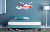 helicopter personalized custom name for kids bedrooms a wall decor vinyl decal lettering graphic word 2120