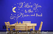 I love you to the moon and back quote - a wall decor vinyl lettering decal words with moon and stars graphic x-Large 2152