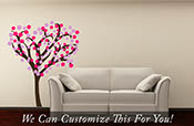 Chery Blossom Tree Oriental with blossoms - a Wall decor Tree Decal large multi Color vinyl decal graphic 2179